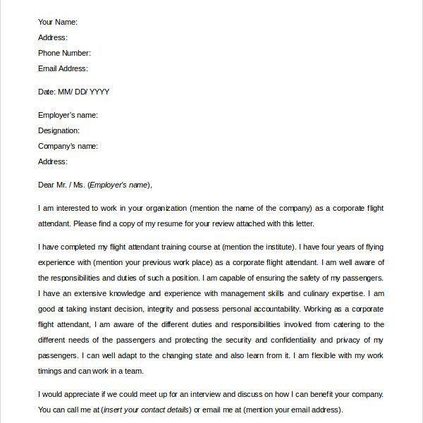 Extremely Ideas Flight Attendant Cover Letter 10 Sample - CV ...
