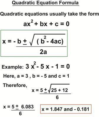 Solving Trinomial Equations Using The Quadratic Formula