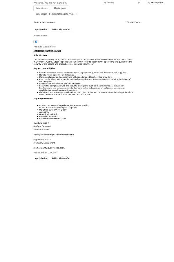Facilities Coordinator job at Gucci in Berlin, Germany | Tapwage ...