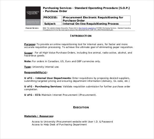 Standard Operating Procedure Template | ebook
