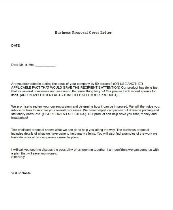 Cover letter of proposal sample business proposal cover letter 7 business proposal cover letter project proposal cover letter yadclub Images