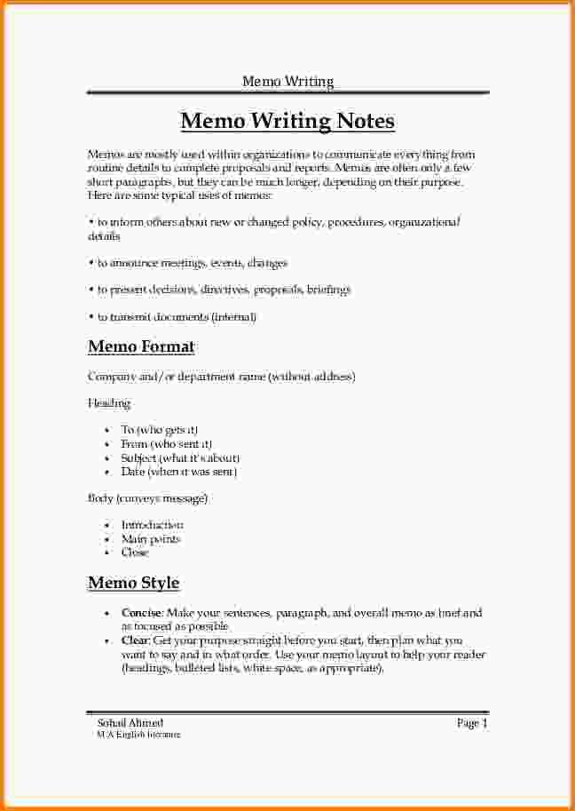 8+ how to write a business memo | Letter Template Word