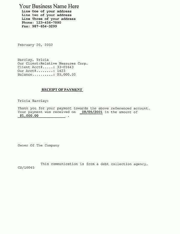 Downloads - Debtor Letter - Debtor Receipt