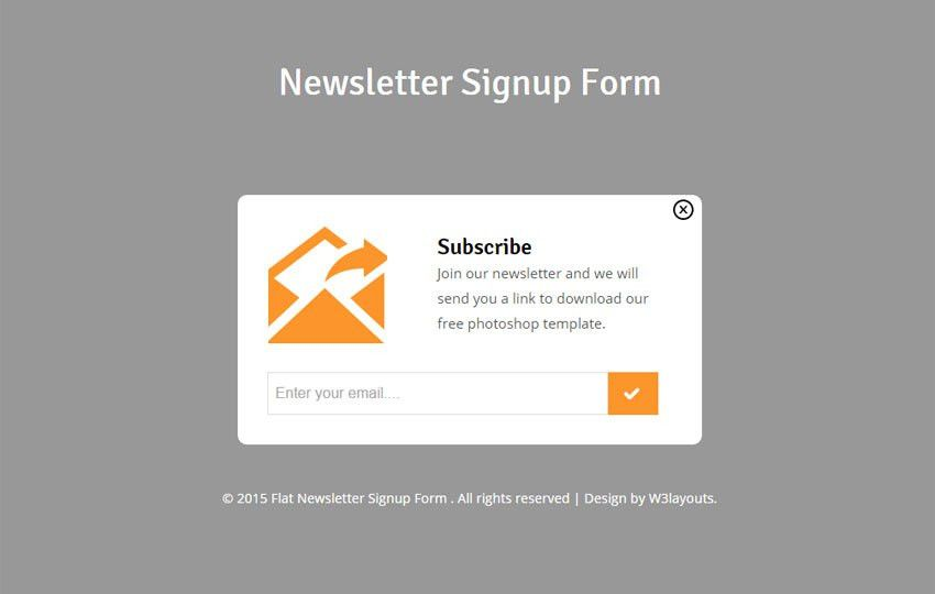 Newsletter Signup Form Responsive Widget Template - w3layouts.com