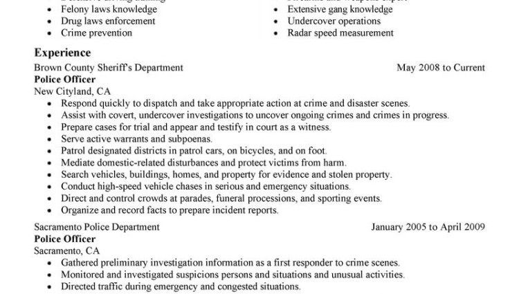 police officer resume objectives resume objective examples police ...