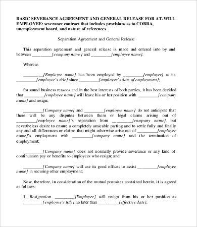 Sample Severance Agreement. Severance Agreement Template | Best ...