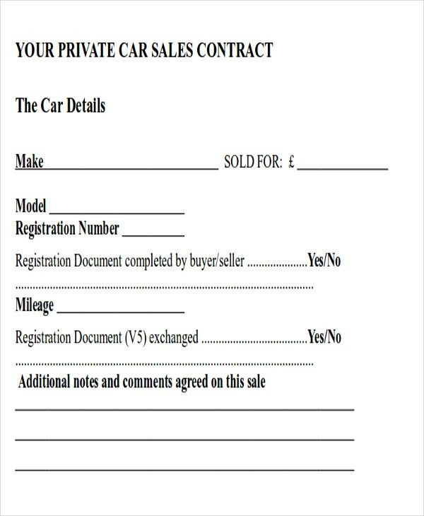 Auto Sales Contract. Auto Purchase Agreement Letter Samples - Used ...