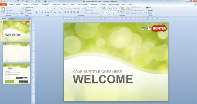 Free Green Bokeh PowerPoint Template - Free PowerPoint Templates ...