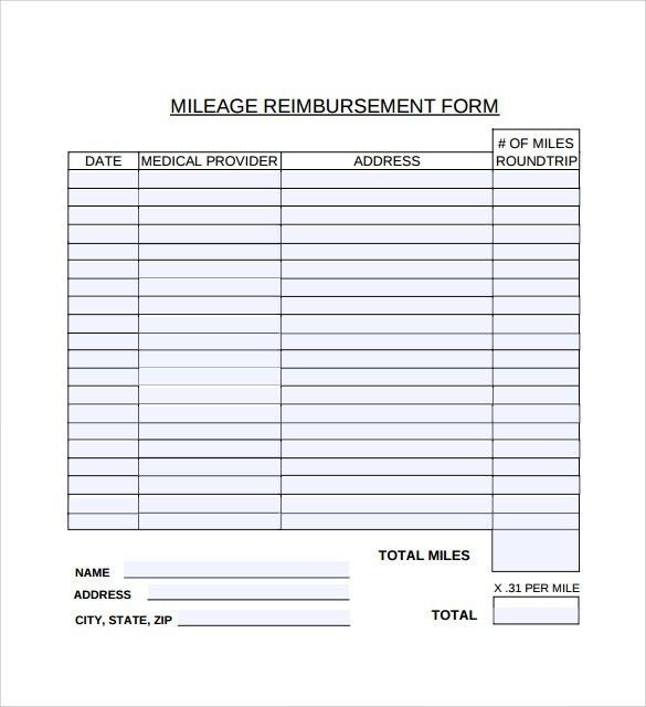 Sample Mileage Reimbursement Form - 8+ Download Free Documents In ...