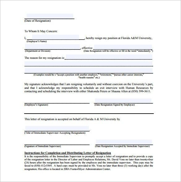 11+ Simple Resignation Letter Templates – Free Sample, Example ...