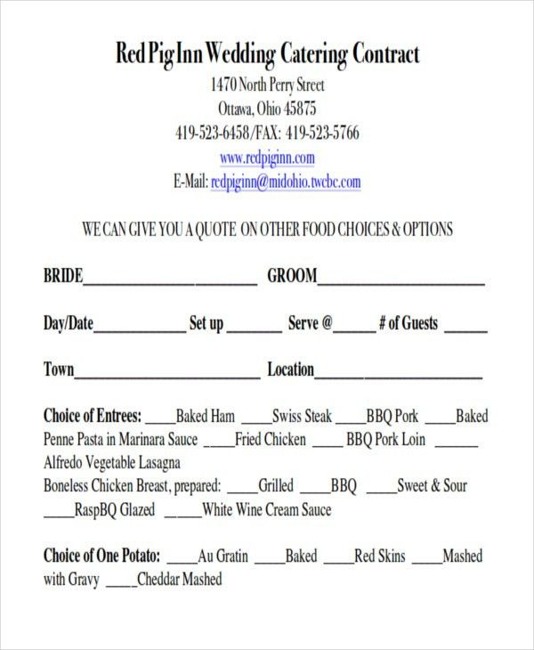 Sample Wedding Contract Agreements - 9+ Examples in Word, PDF