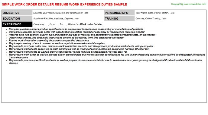 Work Order Detailer Job Title Docs