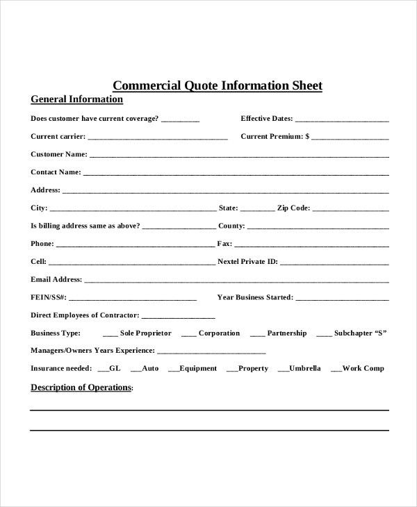 Quote Sheet Template - 5 Free Word, PDF Documents Download | Free ...