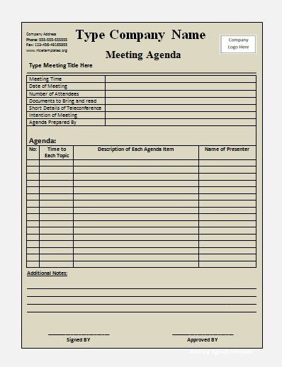 Meeting Agenda Templates | Free Printable Word Templates,