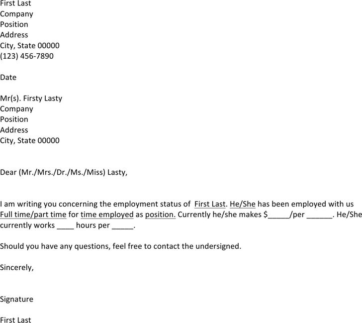 samples example of employment verification letter database ...