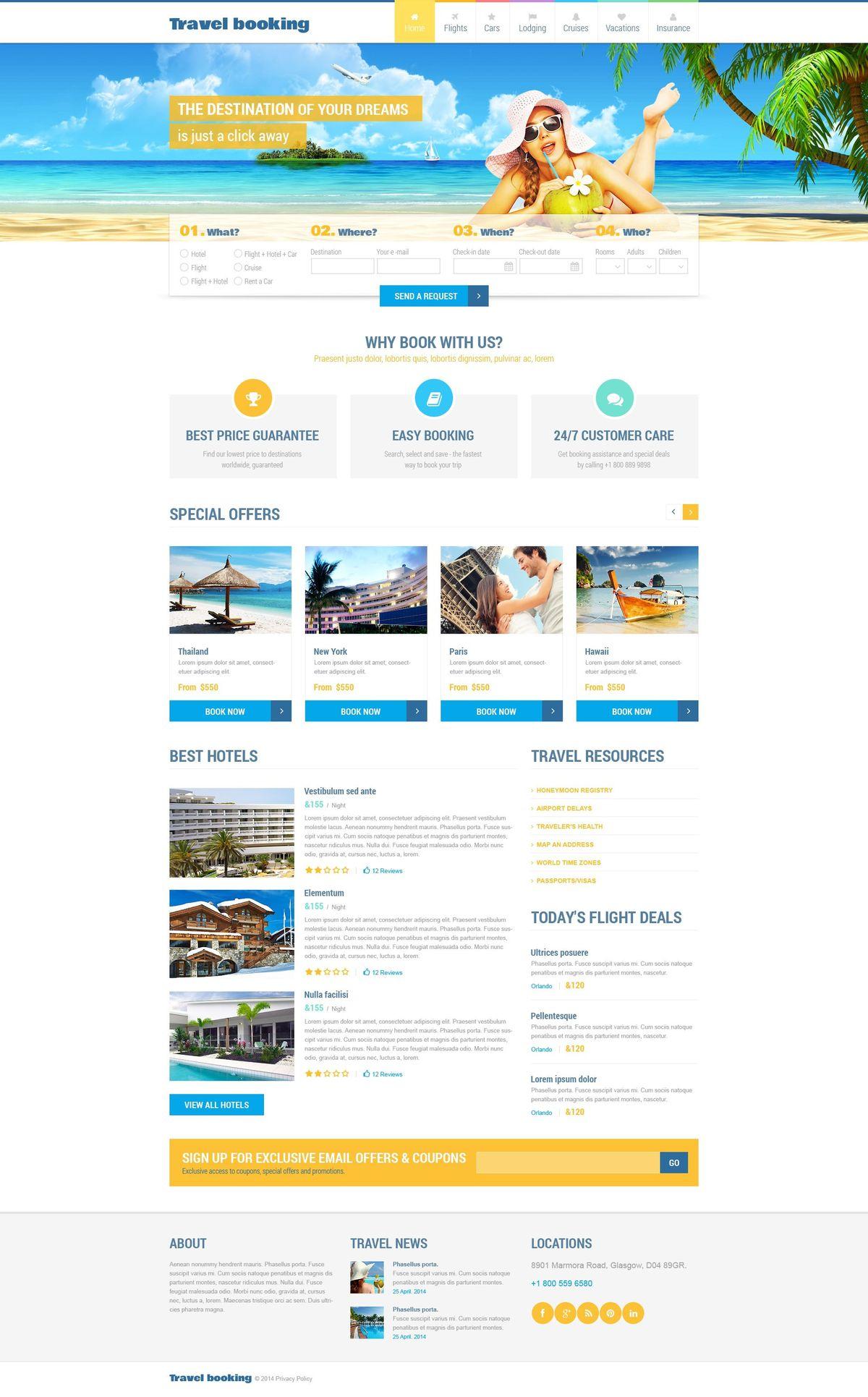 Airline Tickets Website Templates | TemplateMonster