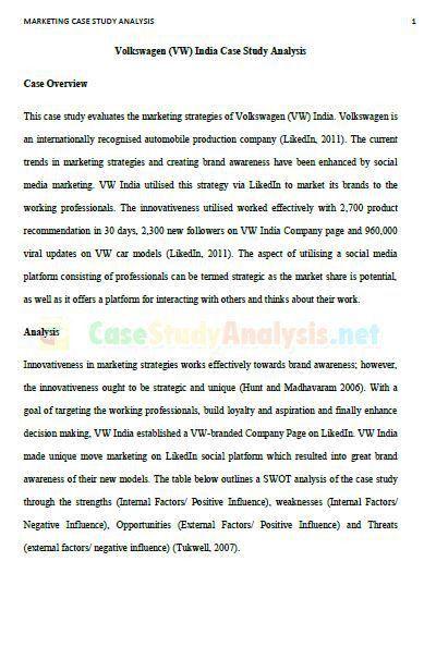 Marketing Case Study Analysis Example | Case Study Analysis