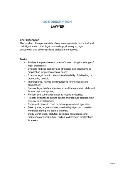 Lawyer Job Description - Template & Sample Form | Biztree.com