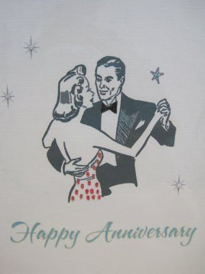 "Happy Anniversary"", Retro Print Anniversary Card"