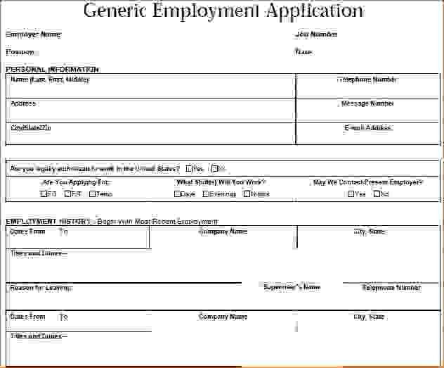 Sample Generic Application For Employment. Ideas Collection The ...