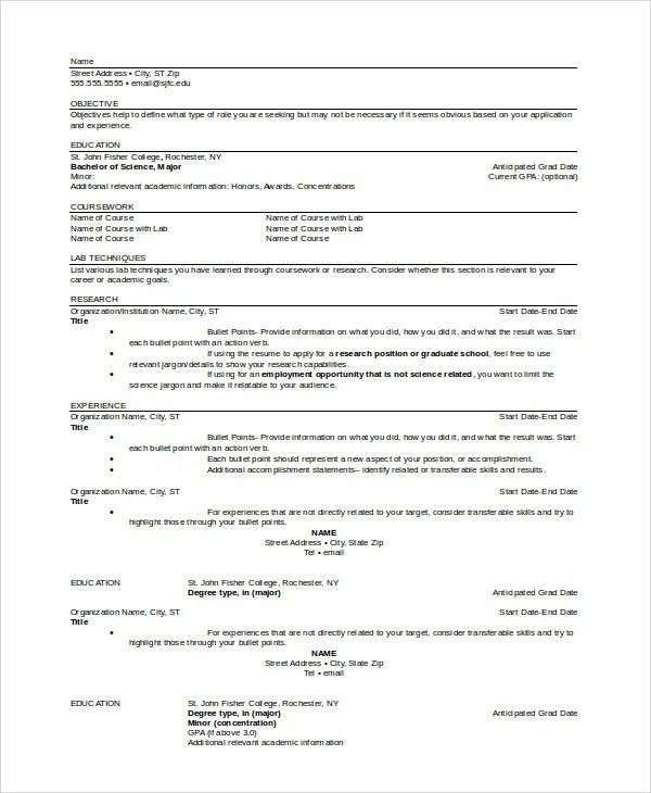 objective for graduate school resume graduate school resume