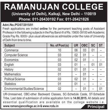 Ramanujan College DU Recruitment 2015 Application Form Last Date ...