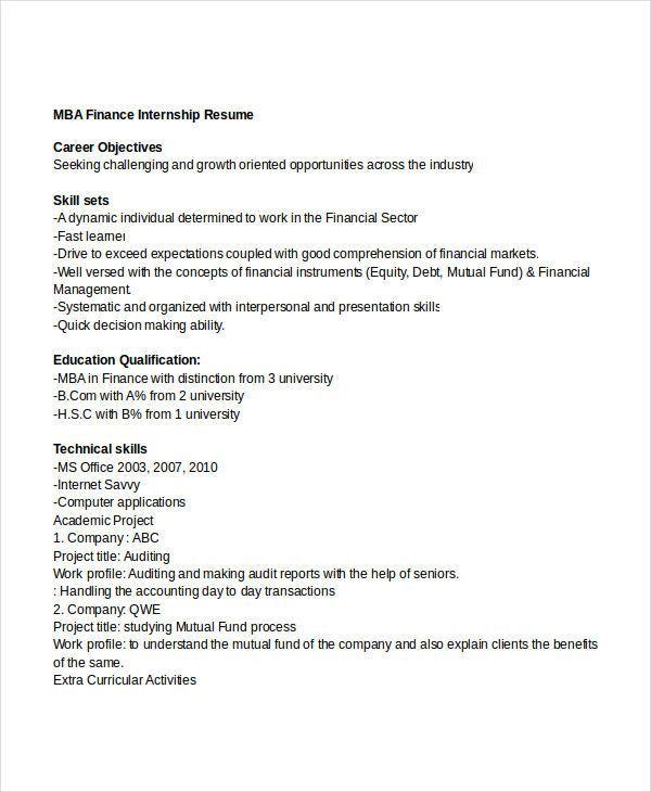 finance intern resume internship resume objective stibera