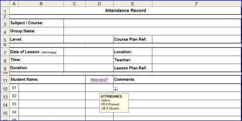 attendance template for excel