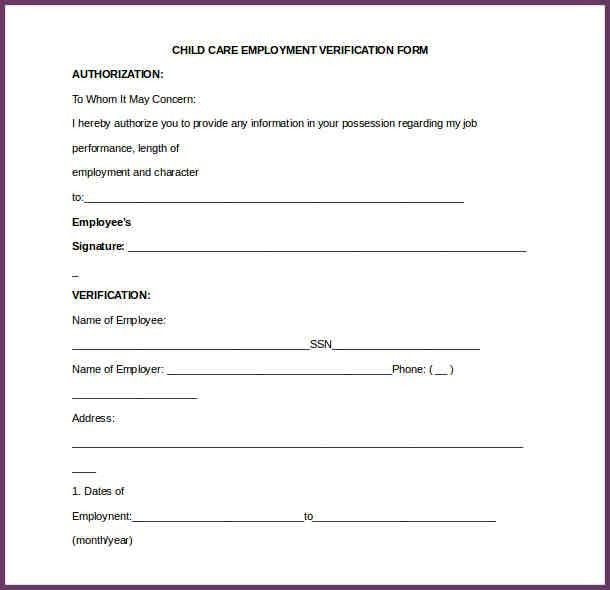 Employment Verification Form. Employment Verification Letter ...