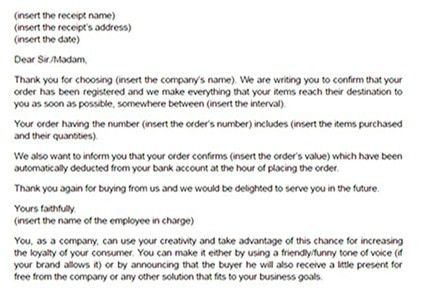 Order confirmation letter template | Email confirming order model