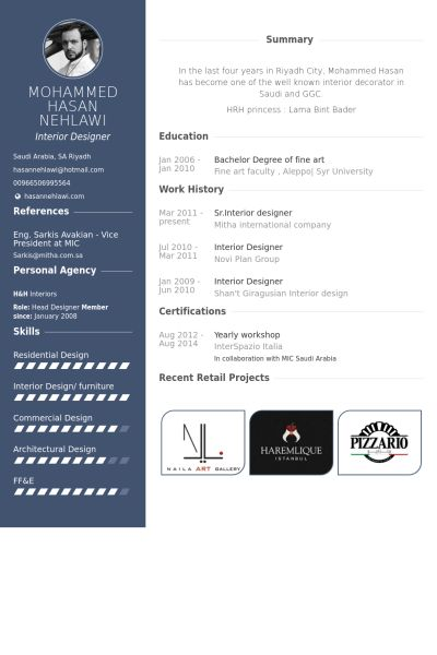 Interior Designer Resume samples - VisualCV resume samples database