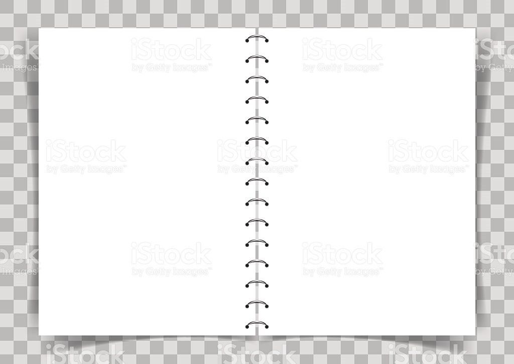Blank Paper Book Connected With Spiral On Transparent Vector ...