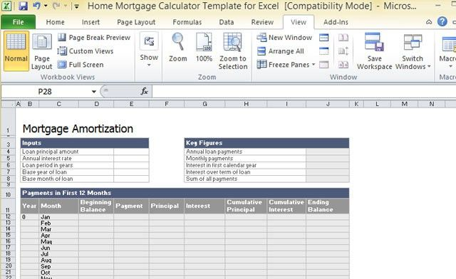 Home Mortgage Calculator Template For Excel