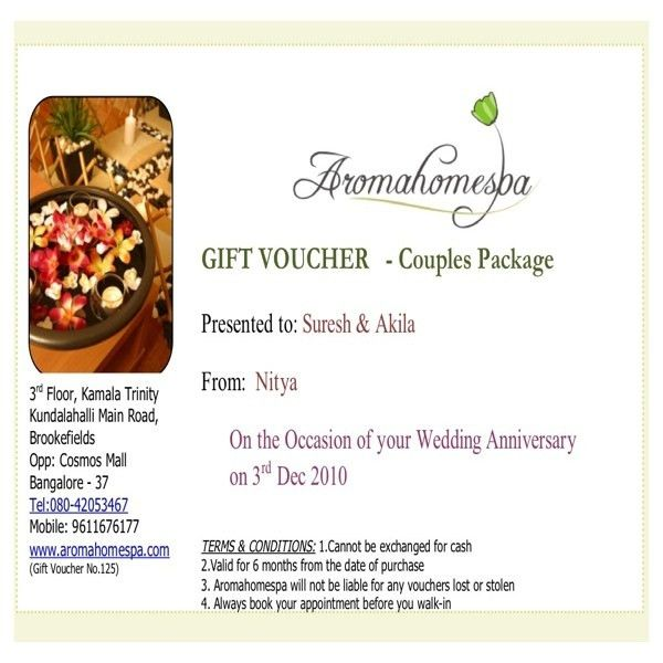 Spa Gift Certificate / voucher at Aroma home spa bangalore | Spa ...