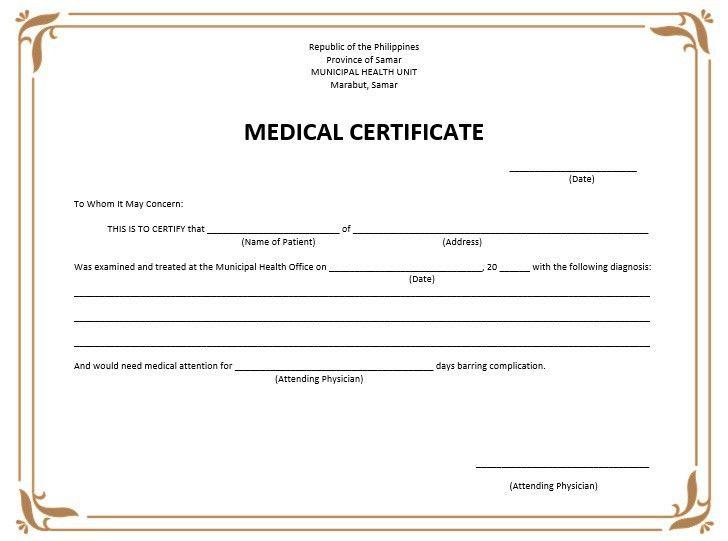8 Free Sample Medical Certificate Templates – Printable Samples