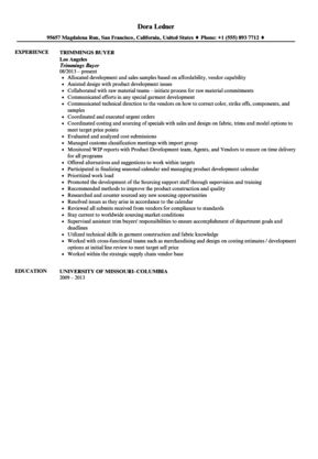 Trimmings Buyer Resume Sample | Velvet Jobs