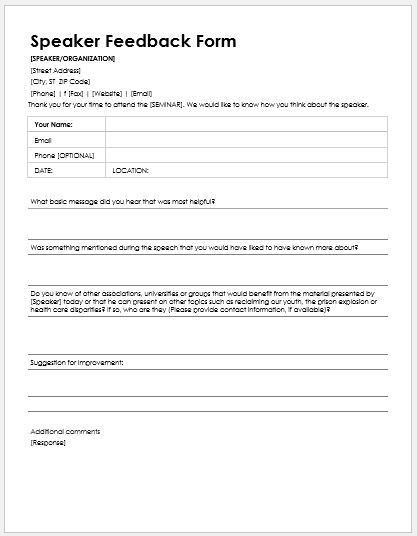 Speaker Feedback Forms for MS Word   Word & Excel Templates