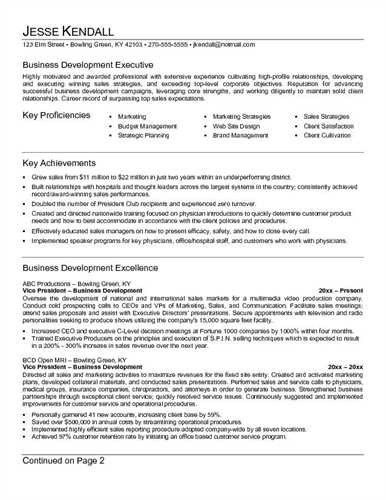 Business Development Resume Sample | jennywashere.com