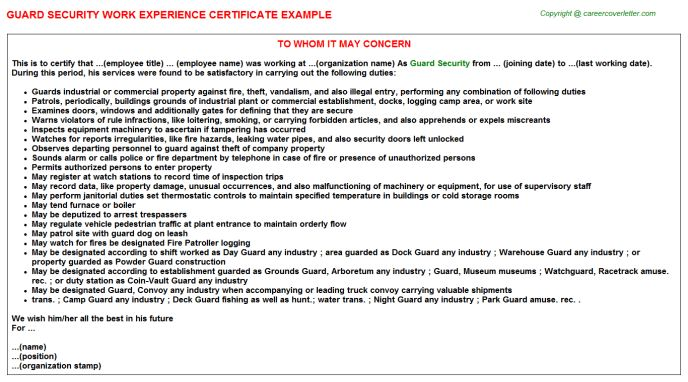 Guard Security Work Experience Certificate