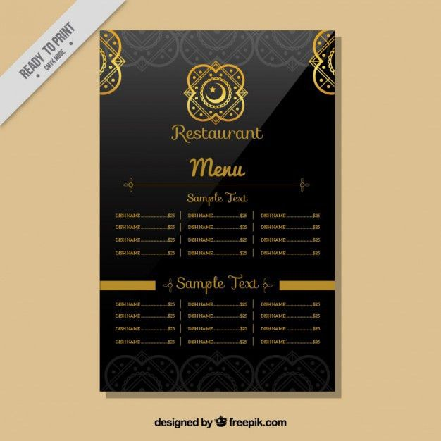 Indian restaurant menu template Vector | Free Download