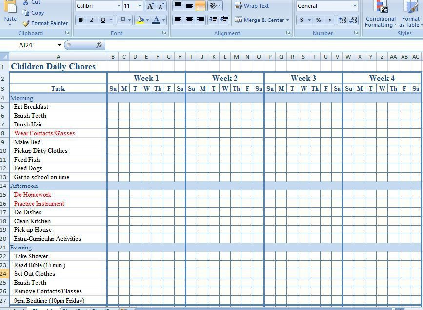 Children Daily Chore Chart Template for Excel | Formal Word Templates