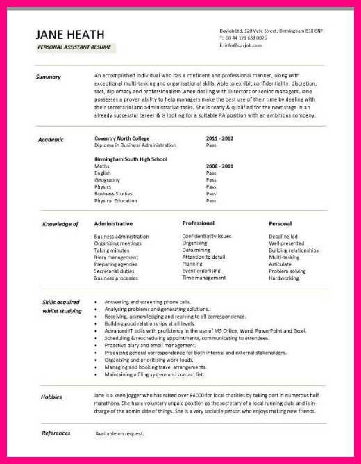 14 Student CV Template For First Job