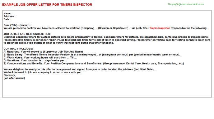 Timers Inspector Offer Letter