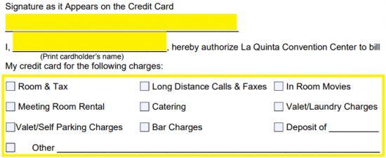 Free La Quinta Hotel Credit Card Authorization Form - PDF