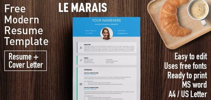 Le Marais - Free Modern Resume Template