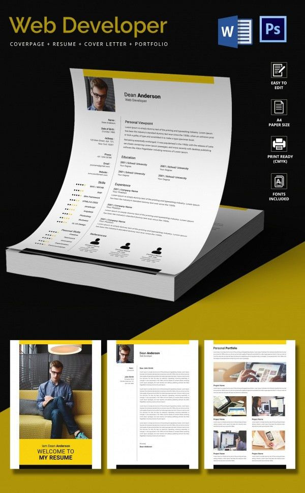 Web Developer Resume Template – 11+ Free Word, Excel,PS, PDF ...