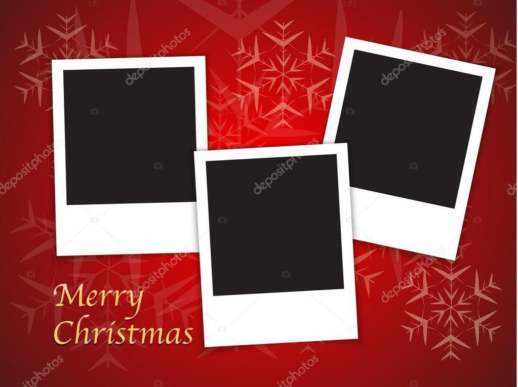 Christmas card templates with blank photo frames — Stock Vector ...