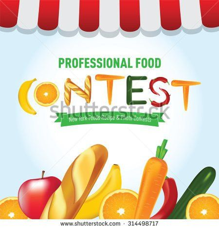 Food Contest Banner Advertisement Template Fruits Stock Vector ...