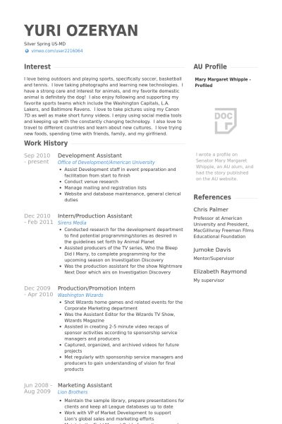 Development Assistant Resume samples - VisualCV resume samples ...