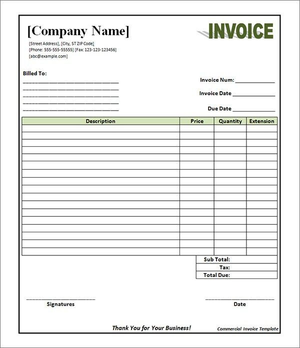 Commercial Invoice Template Pdf | invoice example